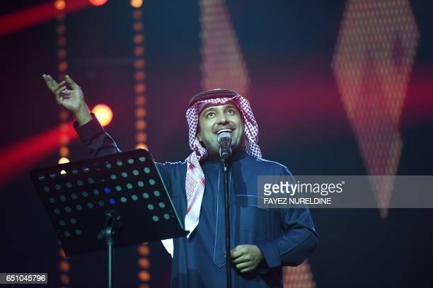 Saudi singer Rashed alMajed performs during a concert in Riyadh on March 9 2017 Saudi Arabia's Paul McCartney took to the stage as the kingdom seeks...