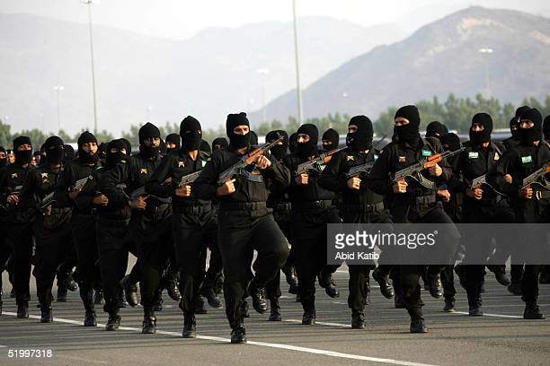Saudi Special Forces attend a military show January 15 2005 in Mecca Saudi Arabia Around two million Muslim pilgrims from around the world are...