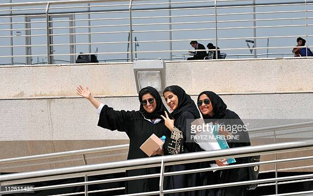 Saudi students gesture during the second International Conference and Exhibition on Higher Education in Riyadh on April 19 2011 AFP PHOTO/FAYEZ...