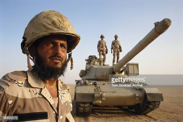 Saudi troops in training on the border with Kuwait during the Persian Gulf War 1990