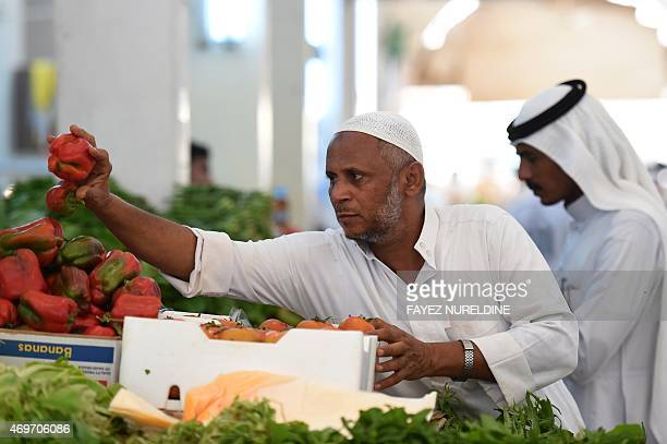 A Saudi vendor displays his products on a stall at a market on April 14 2015 in the port city of Jizan in the southwest corner of Saudi Arabia AFP...