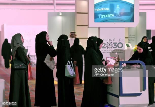 Saudi women apply for a job during Glowork Career Fair 2017 for Saudi women employments held at a hotel in the Saudi capital Riyadh on September 28...
