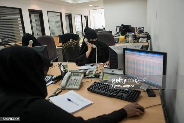 Saudi women work at Bab Risq an employment and microfinancing company backed by the Saudi government in Riyadh Saudi Arabia Feb 27 2013 Companies...