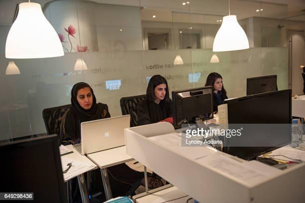 Saudi women work at Glo Works an employment agency in Riyadh Saudi Arabia Feb 27 2013 Companies like Glo Works have successfully helped place women...