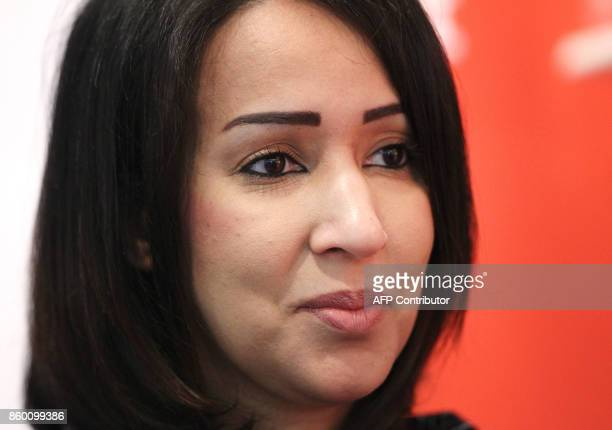 Saudi women's rights activist and author Manal alSharif is pictured at the Frankfurt Book Fair 2017 in Frankfurt am Main central Germany on October...