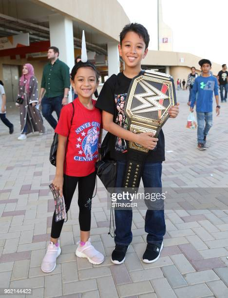 Saudi youths arrives to attend the World Wrestling Entertainment Greatest Royal Rumble event in the Saudi coastal city of Jeddah on April 27, 2018.