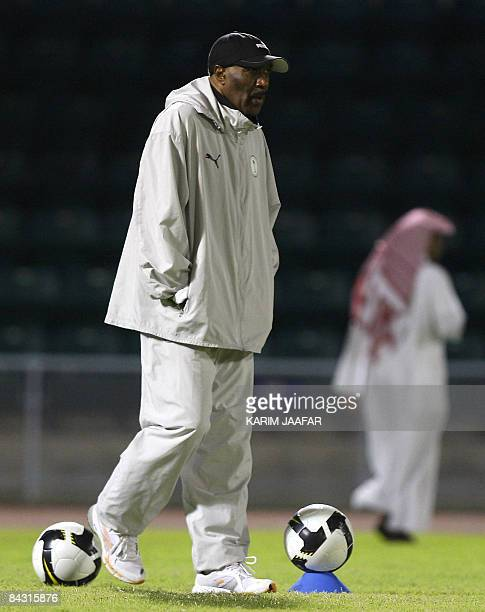 Saudia Arabia's coach Nasser alJohar attends a training session with his team in the Omani capital Muscat on January 16 2009 Saudi Arabia faces Oman...