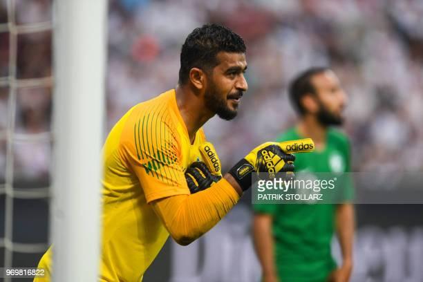 SaudiArabia's goalkeeper Abdullah AlMuaiouf reacts during the international friendly football match between Germany and Saudi Arabia at the BayArena...