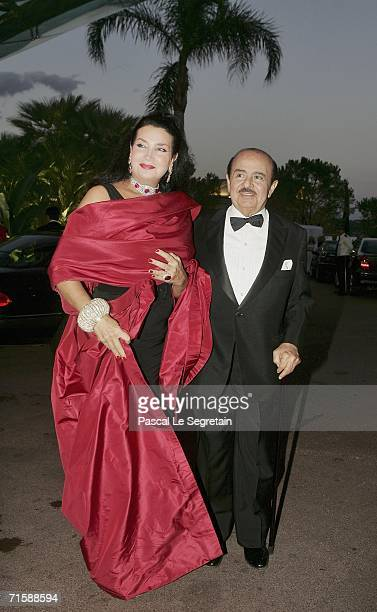 Saudiborn businessman Adnan Khashoggi and his wife Lamia arrive at the Monaco Red Cross Ball under the Presidency of HSH Prince Albert II in the...