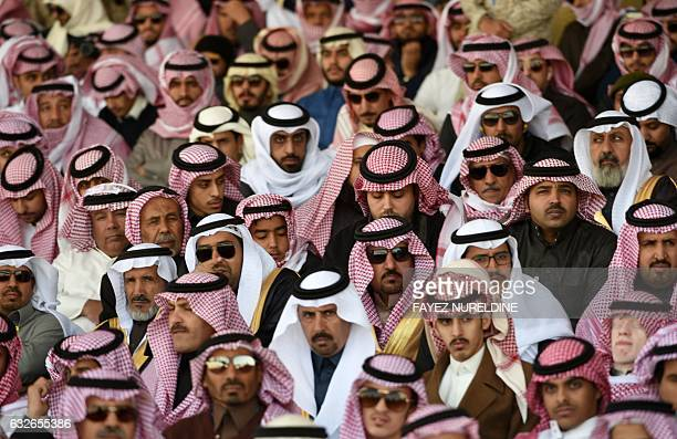 TOPSHOT Saudis attend a ceremony marking the 50th anniversary of the creation of the King Faisal Air Academy at King Salman airbase in Riyadh on...