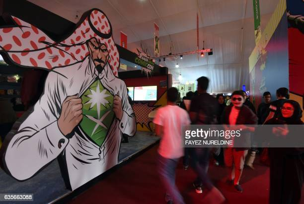Saudis attend the country's first ever ComicCon event in the coastal city of Jeddah on February 16 2017 The threeday festival of anime pop art video...