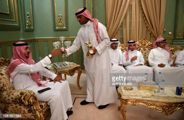 Saudis attend the wedding of a friend at his home in the Red Sea resort of Jeddah on September 6 2018 It was a Saudi wedding like any other clutching...