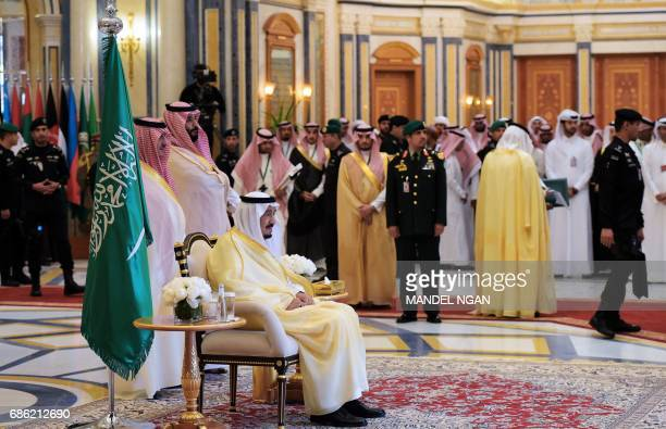 Saudi's King Salman bin Abdulaziz alSaud waits for the arrival of US President Donald Trump and Gulf Cooperation Council leaders for a meeting in...