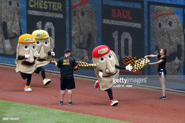 Sauerkraut Saul crosses the finish line first in during the great Pittsburgh pierogie race at PNC Park on July 14 2018 in Pittsburgh Pennsylvania