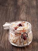 traditional russian appetizer sauerkraut with cranberry