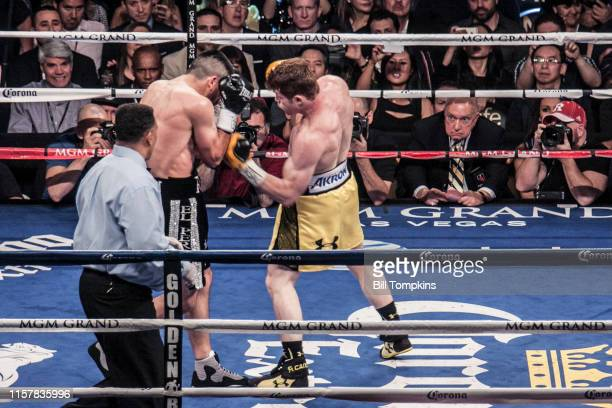 Saul Alvarez defeatsAlfredo Angulo by TKO in the 10th round in their Super Welterweight boxing match at The MGM Hotel on March 8, 2014 in Las Vegas....