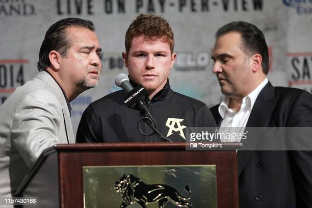 Saul Alvarez in the post press conference after his win over Alfredo Angulo by 10th round TKO in their Junior Middleweight unification boxing match...
