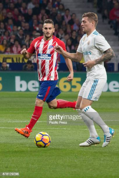 METROPOLITANO MADRID SPAIN Saul and Tony Kroos during Atletico de Madrid won by 2 to 0 with goals by Griezmann and Gameiro against Roma
