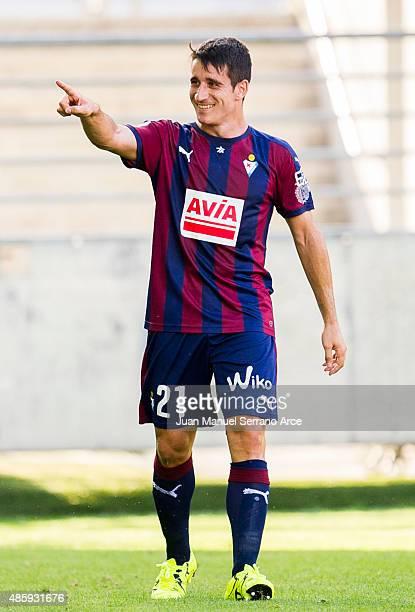 Saul Berjon of SD Eibar celebrates after scoring during the La Liga match between SD Eibar and Athletic Club at Ipurua Municipal Stadium on August 30...