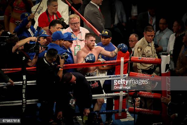 Saul Canelo Alvarez celebrates his victory over Julio Cesar Chavez Jr after their catchweight bout at TMobile Arena on May 6 2017 in Las Vegas Nevada