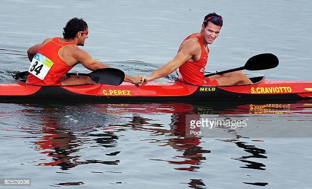 Saul Craviotto and Carlos Perez of Spain celebrate after winning the Men's Kayak Double K2 Flatwater final on Day 15 of the Beijing 2008 Olympic...