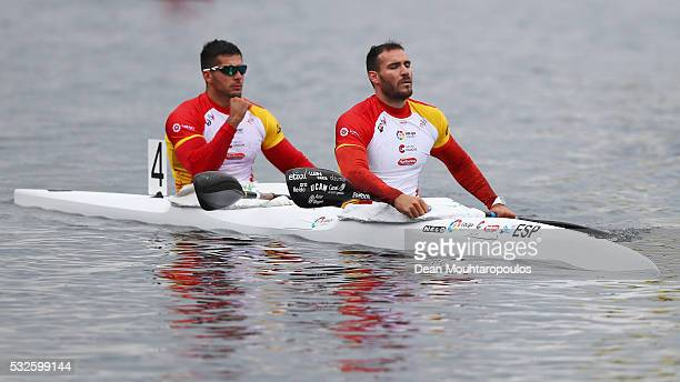 Saul Craviotto and Cristian Toro of Spain celebrate after the compete in the K2 M 200 during Day 2 of the European Canoe Sprint Olympic Qualifying...
