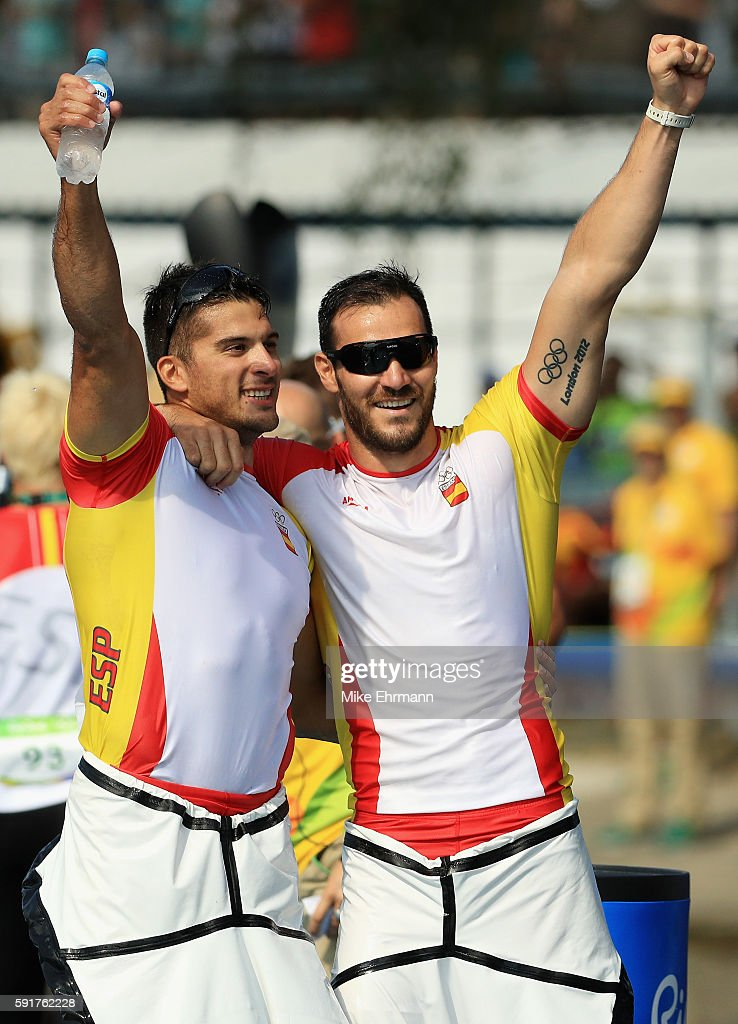 Saul Craviotto and Cristian Toro of Spain celebrate after winning gold in the Men's Kayak Double 200m event at the Lagoa Stadium on Day 13 of the 2016 Rio Olympic Games on August 18, 2016 in Rio de Janeiro, Brazil.
