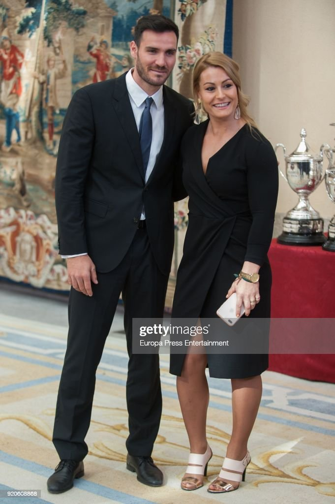 Saul Craviotto and Lidya Valentin attend the National Sports Awards at El Pardo Palace on February 19, 2018 in Madrid, Spain.