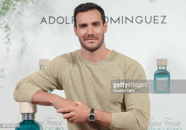 Saul Craviotto is presented as new Adolfo Dominguez ambassador at Adolfo Dominguez store on June 14 2018 in Madrid Spain
