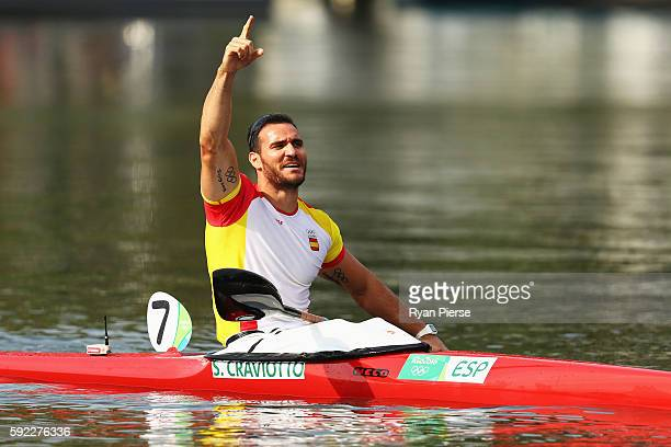 Saul Craviotto of Spain wins the bronze medal in the Men's Kayak Single 200m Finals on Day 15 of the Rio 2016 Olympic Games at the Lagoa Stadium on...
