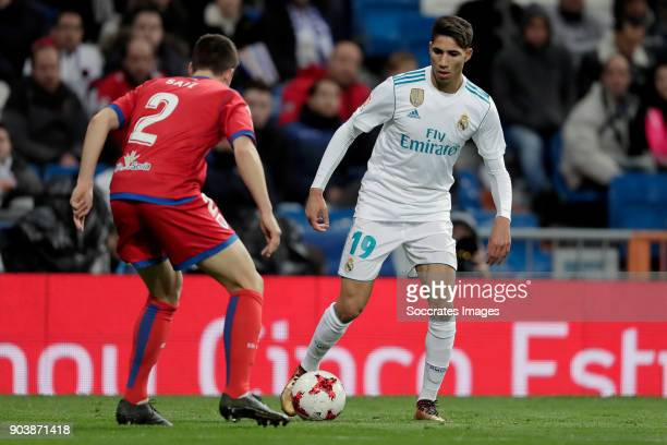 Saul Garcia of Numancia Achraf Hakimi of Real Madrid during the Spanish Copa del Rey match between Real Madrid v Numancia on January 10 2018