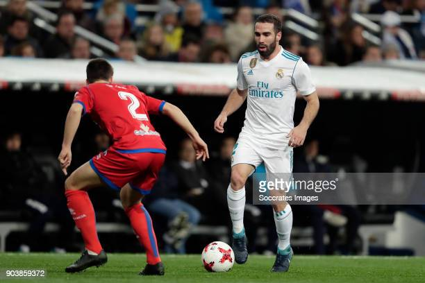 Saul Garcia of Numancia Dani Carvajal of Real Madrid during the Spanish Copa del Rey match between Real Madrid v Numancia on January 10 2018