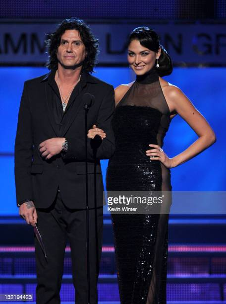 Saul Hernandez and Blanca Soto speak onstage during the 12th annual Latin GRAMMY Awards at the Mandalay Bay Events Center on November 10 2011 in Las...