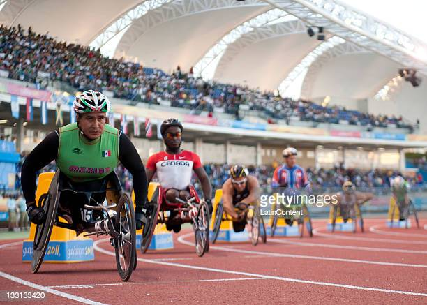 Saul Hernandez of Mexico competes in the Men's 400m T54 during Day 4 of the 2011 Para Pan American Games at Telmex Stadium on November 16 2011 in...