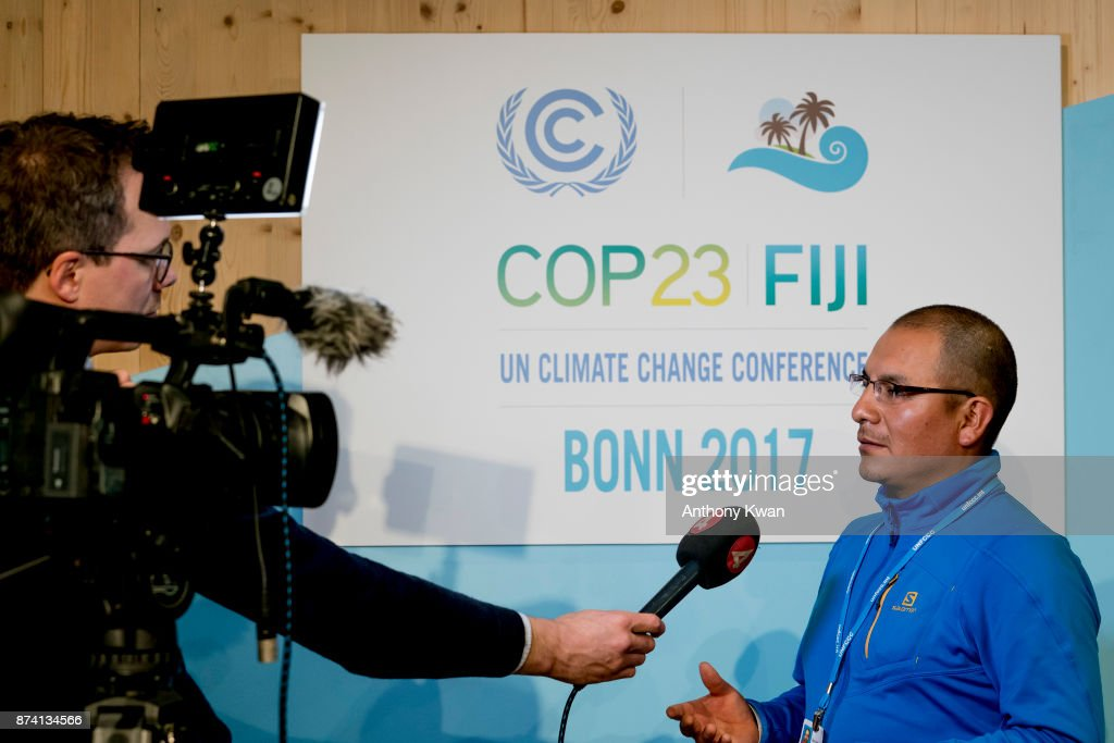 Saul Luciano Lliuya, a farmer from Peru, speaks to members of the media at the UN Climate Change Conference on November 14, 2017 in Bonn, Germany. Lliuya is suing German utility RWE, which operates massive coal-fired power plants in western Germany, for compensation due to climate change that affects him directly in his home in Peru. A German regional court ruled yesterday that Lliuya's case is admissable, which allows for it to proceed. Specifically, Lliuya is asking that RWE pay EUR 17,000 for flood defences to protect his home village from floods caused by nearby melting glaciers.