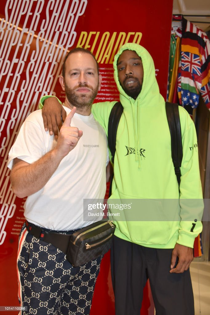 Saul Milton (L) and Jammer attend the launch of 'Super Sharp Reloaded', a new installation and pop-up shop by Saul Milton and Tory Turk, presented by Selfridges and Reebok at Selfridges on August 9, 2018 in London, England.