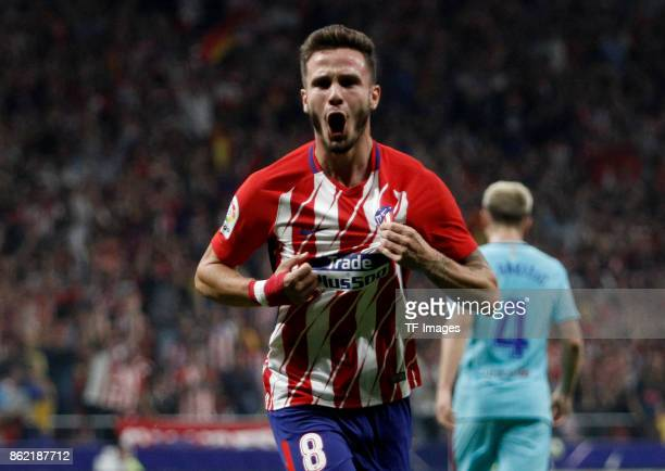 Saul Níguez of Atletico Madrid celebrates after scoring his team`s ´ goal during the La Liga match between Club Atletico Madrid and FC Barcelona at...