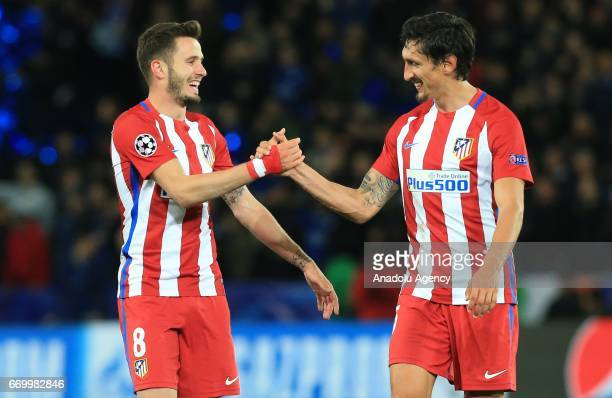 Saul Niguez and Stefan Savic of Atletico Madrid celebrate after winning the Champions League Quarter Final second leg soccer match between Leicester...
