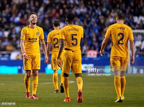 Saul Niguez and Thomas Teye Partey of Atletico de Madrid celebrate the 0 1 goal during the La Liga match between Deportivo La Coruna and Atletico...