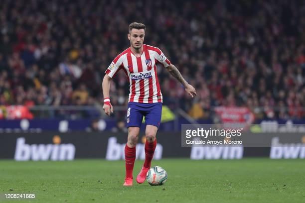 Saul Niguez at controls the ball during the Liga match between Club Atletico de Madrid and Villarreal CF at Wanda Metropolitano on February 23, 2020...