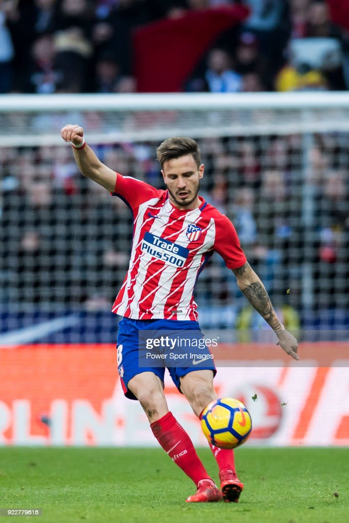Saul Niguez Esclapez of Atletico de Madrid in action during the La Liga 2017-18 match between Atletico de Madrid and UD Las Palmas at Wanda Metropolitano on January 28 2018 in Madrid, Spain.
