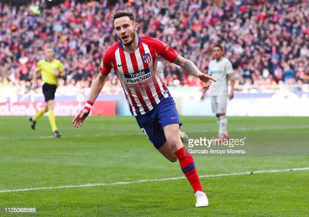 Saul Niguez of Atletico de Madrid celebrates after scoring his team's second goal during the La Liga match between Club Atletico de Madrid and Getafe...