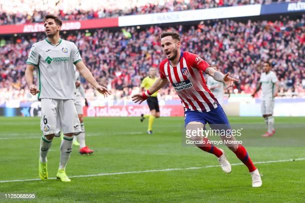 Saul Niguez of Atletico de Madrid celebrates after scoring his team's second goal during the La Liga match between Club Atletico de Madrid and Getafe...