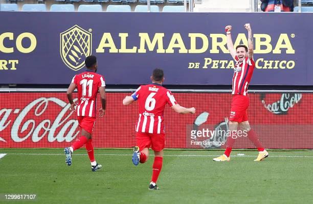 Saul Niguez of Atletico de Madrid celebrates after scoring their side's second goal during the La Liga Santander match between Cadiz CF and Atletico...