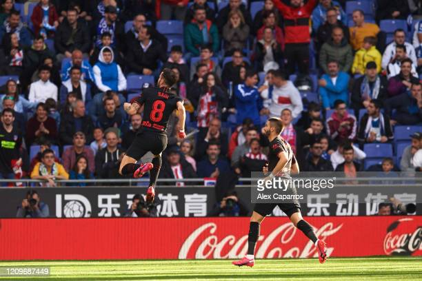 Saul Niguez of Atletico de Madrid celebrates scoring his team's first goal during the Liga match between RCD Espanyol and Club Atletico de Madrid at...
