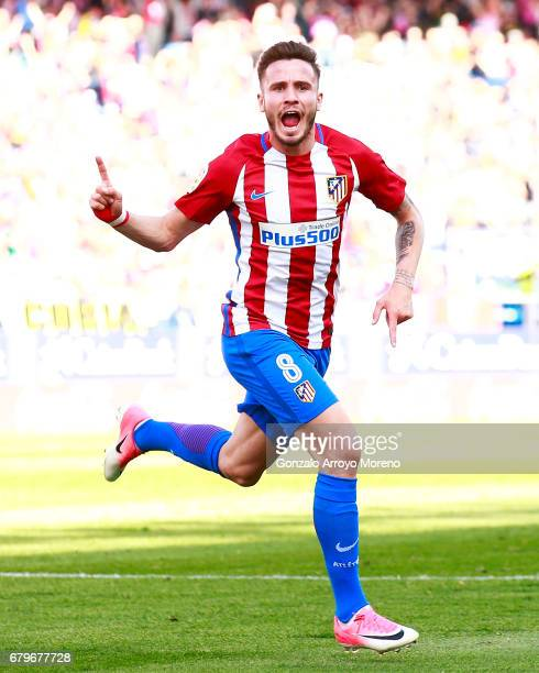Saul Niguez of Atletico de Madrid celebrates scoring their opening goal during the La Liga match between Club Atletico de Madrid and SD Eibar at...
