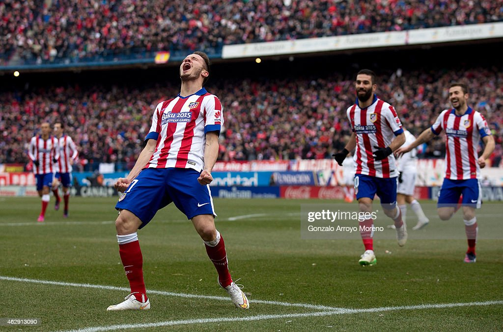 Saul Niguez of Atletico de Madrid celebrates scoring their second goal during the La Liga match between Club Atletico de Madrid and Real Madrid CF at Vicente Calderon Stadium on February 7, 2015 in Madrid, Spain.