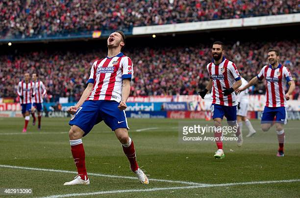 Saul Niguez of Atletico de Madrid celebrates scoring their second goal during the La Liga match between Club Atletico de Madrid and Real Madrid CF at...