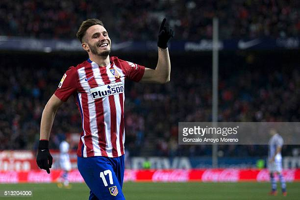 Saul Niguez of Atletico de Madrid celebrates scoring their second goal during the La Liga match between Club Atletico de Madrid and Real Sociedad de...