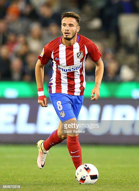 Saul Niguez of Atletico de Madrid competes for the ball during 2016 International Champions Cup Australia match between Tottenham Hotspur and...